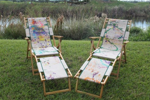 Lounge chairs painted by chimpanzees